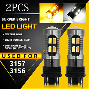 Dual Color 3157 Led Drl Switchback Turn Signal Parking Light Bulbs White amber