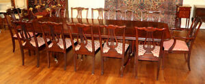 Superb Henkel Harris Flame Mahogany Dining Table 12 Harp Back Dining Chairs