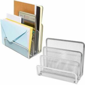 2x Small Metal Desk Organizer Mail Sorter Set For Office School 6 8x3 4x5 5 In
