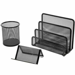 3 Piece Mesh Desk Organizer Office Supplies Accessories Home D cor Set Black