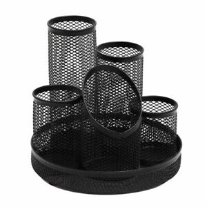 Rotating Mesh Metal Desk Organizer Pen Holder Office Supplies Storage Caddy Rack