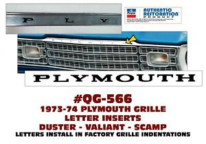 Qg 566 1971 74 Plymouth Duster Valiant Scamp Grille Insert Letters