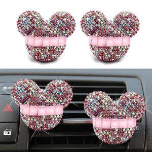 2 Pcs Mickey Mouse Car Fragrance Air Freshener Auto Vent Perfume Diffuser Pink