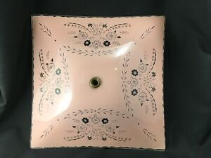 Vintage Glass Ceiling Light Shade Pink Clear 12 Square Floral Nice Details