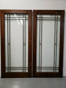 Antique Leaded Glass Window Pair Architectural Salvage