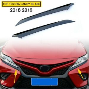 Car Parts Black Steel Head Light Eyelid Trim For Toyota Camry 2018 2020 Se Xse