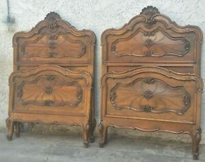 Pair Walnut Italian Twin Size Beds King In The French Style Restored La Area
