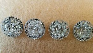 4 Antique Pressed Lacy Glass Buttons With Gilt Paint Backing 5 8 Across