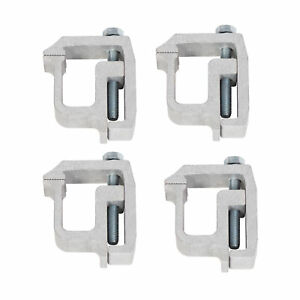 4 Pcs Truck Cap Topper Camper Shell Mounting Clamps Heavy Duty Aluminum Silver