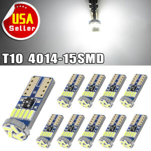 10x T10 Canbus Bulb Led Interior Light Instrument Panel Dome Lamp 194 192 168