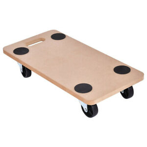 440 Lbs Platform Dolly Rectangle Wood Utility Cart Wheeled Moving Transporter