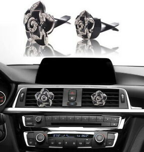 Fashion Car Decoration Charms Rhinestone Car Bling Accessories Black Roses 2pc