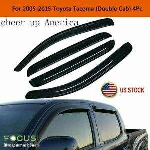 For 2005 2015 Toyota Tacoma Crew Cab Window Visors Sun Rain Guards Vent Shade Us