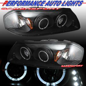 Set Of Black Halo Projector Headlights For 2000 2005 Chevrolet Impala