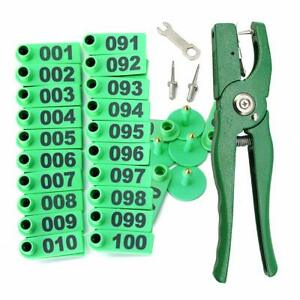 Livestock Animal Ear Tagging Pliers With Spare Pins And 001 100 Number Plastic T