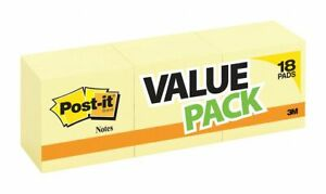 Post it Sticky Notes Pk 18 3 X 3 Canary Yellow 654 14 4yw 654 14 4yw 1
