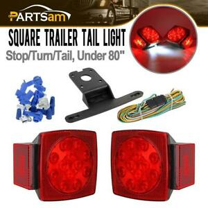 Submersible Square Led Trailer Tail Light Kit Brake Stop Tail License Lights
