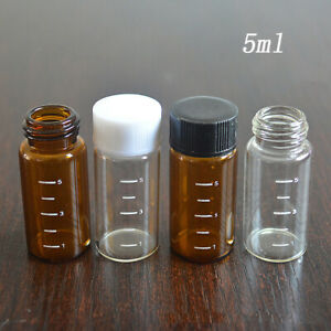 5pcs 5ml Glass Oil Bottles Small Transparent Sample Vials Graduated With Writing