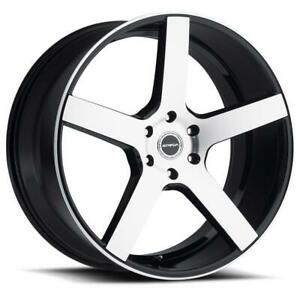 22 Inch 22x8 5 Strada Perfetto Black Machined Wheels Rims 5x5 5x127 38