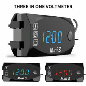 3 In1 Led Electronic Digital Time Clock Thermometer Voltmeter For Motorcycle Ct