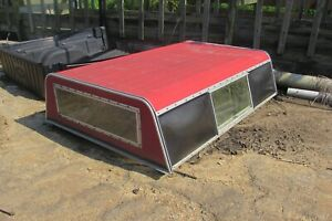 Vintage Red Ford Chevy Dodge Truck Topper With Classic Side Bubble Windows S179