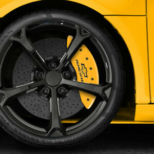 Yellow Chevy Racing Caliper Covers Fits Brembo For 2015 2017 Chevy Ss By Mgp