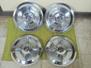 1956 Mercury Spinner Hub Caps 15 Set Of 4 Wheel Cover 56 Merc Hubcaps