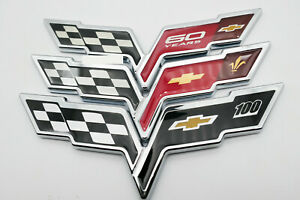 Brand New Emblem Corvette Cross Flags Sticker Badge Decal Chrome For Chevrolet