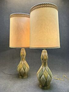 Pair Of Mid Century Modern Green Gold Harlequin Ceramic Table Lamps W Shade