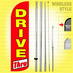 Drive Thru Windless Swooper Flag Kit 15 Tall Feather Banner Sign Rq h