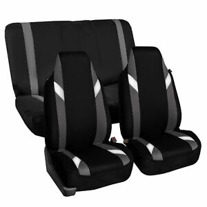 Highback Universal Seat Cover Full Set For Auto Suv Car Van Gray Black