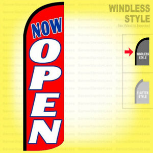 Now Open Windless Swooper Flag 3x11 5 Ft Feather Banner Sign Rq90