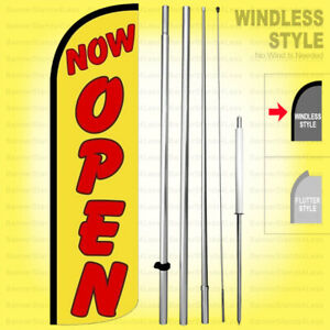 Now Open Windless Swooper Flag Kit 15 Feather Banner Sign Yq h