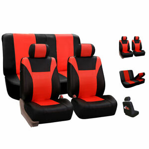 Faux Leather Car Seat Covers For Auto Car Sporty Tangerine Red Black