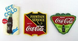 Coca Cola Magnets Set of 3 Soda Fountain Drinks Years 1996 1997 1997