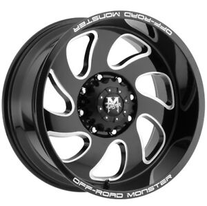 4 Offroad Monster M07 20x10 8x6 5 19mm Black Milled Wheels Rims 20 Inch