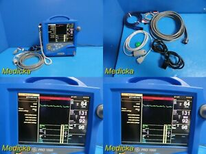 Ge Dinamap Pro 1000 Patient Monitor W Spo2 ecg Nbp Leads Thermometer 21420