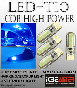 4 Pc T10 Cob Led Ice Blue Silicon Protected Direct Fit For Reverse Lights V477