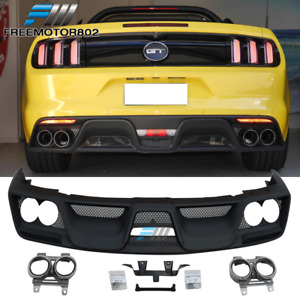 Fit 15 17 Mustang Coupe Gt350 Style Rear Bumper Diffuser W dual Exhaust Pipes