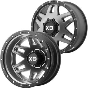 Set Of 4 17 Inch Xd Series Xd130 Machete Dually 8x200 Matte Gray Wheels Rims