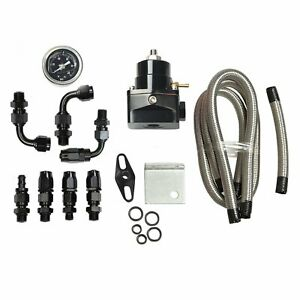Black Universal Adjustable Fuel Pressure Regulator Kit Oil 100psi Gauge An 6