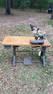 Vintage American Dearborn Blind Stitch Sewing Machine W Table Complete Setup