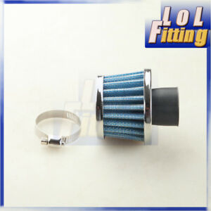 Universal 1 25mm Car Cold Air Intake Filter Turbo Vent Crankcase Breather Blue