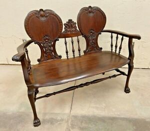 Fancy Carved Victorian Double Settee Bench