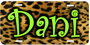 Personalized Monogrammed Custom License Plate Auto Car Tag Leopard Print Lime