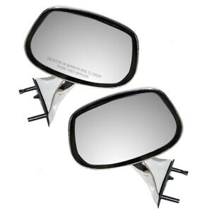 Manual Door Mirrors Set Fits Buick Pontiac Oldsmobile Chevrolet Pair Side Chrome
