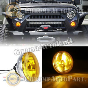 4 Universal Fog Light Lamps 4 Inch Round Chrome Housing Yellow Lens W Harness