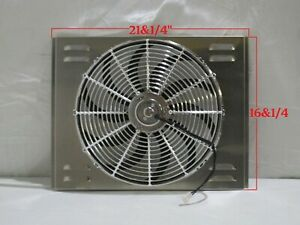 21 X 16 Universal Radiator Fan Shroud And 16 Chrome Fan 2600cfm