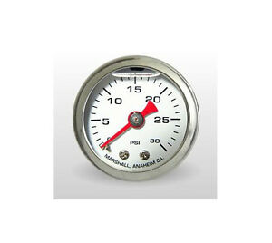 Marshall Gauge 0 30 Psi Fuel Oil Pressure White 1 5 Diameter Liquid Filled