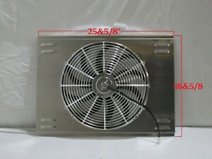 26 X 19 Universal Radiator Fan Shroud And 16 Chrome Fan 2600cfm